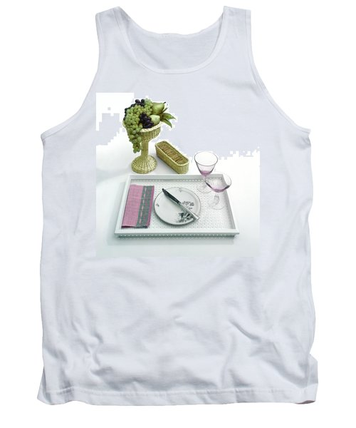 A Summer Table Setting On A Tray Tank Top