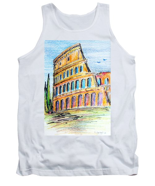 Tank Top featuring the painting A View Of The Colosseo In Rome by Roberto Gagliardi