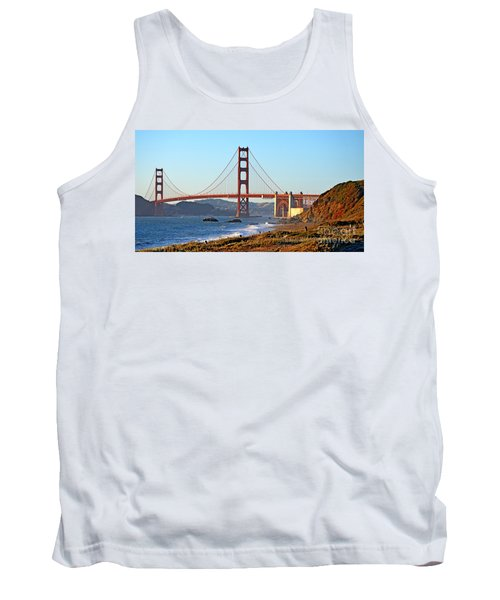 A View Of The Golden Gate Bridge From Baker's Beach  Tank Top by Jim Fitzpatrick