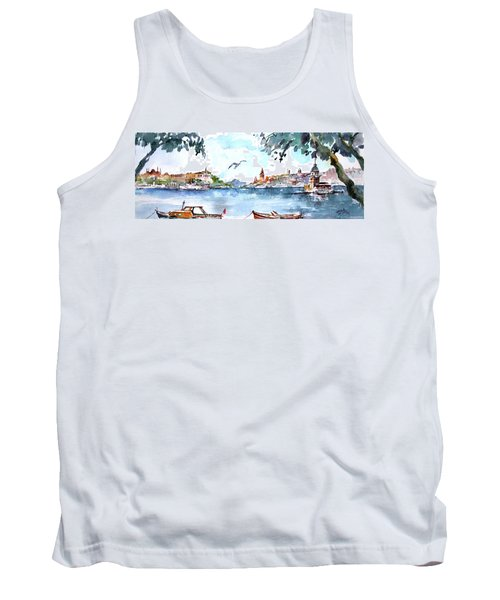 Tank Top featuring the painting A View Of The Historical Peninsula From Uskudar - Istanbul by Faruk Koksal