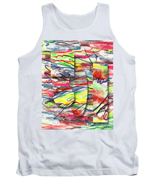 Tank Top featuring the drawing A Walk In The Park  by Peter Piatt