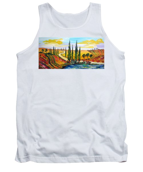 Tank Top featuring the painting A Warm Day Under The Tuscan Sun by Roberto Gagliardi
