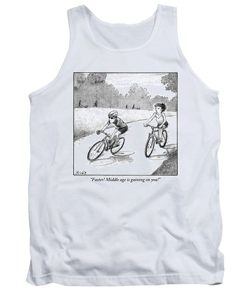 A Woman Casually Riding A Bicycle Addresses A Man Tank Top
