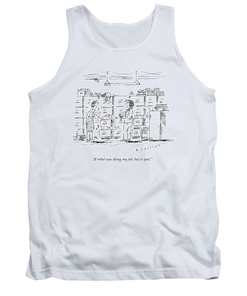 A Woman In A Room Full Of File Cabinets Speaks Tank Top