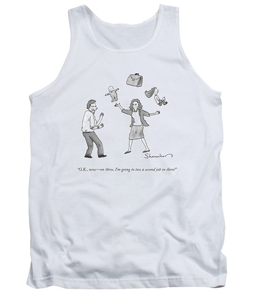 A Woman Juggles Two Children And A Briefcase Tank Top