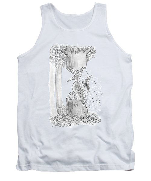 A Woodpecker Is Using His Beak To Carve Is Own Tank Top