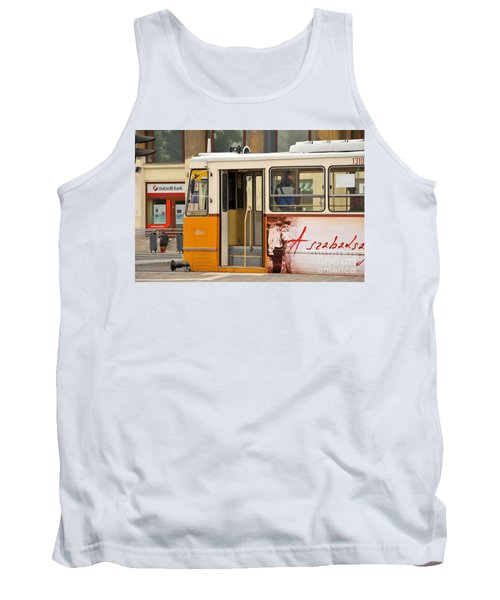 A Yellow Tram On The Streets Of Budapest Hungary Tank Top