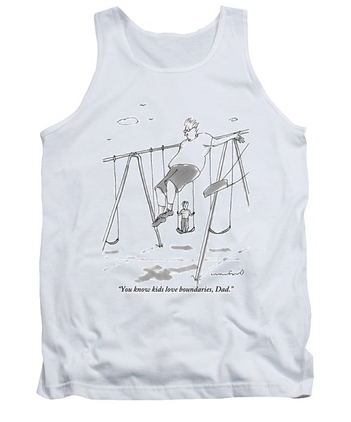 A Young Boy On A Swingset To His Father Tank Top