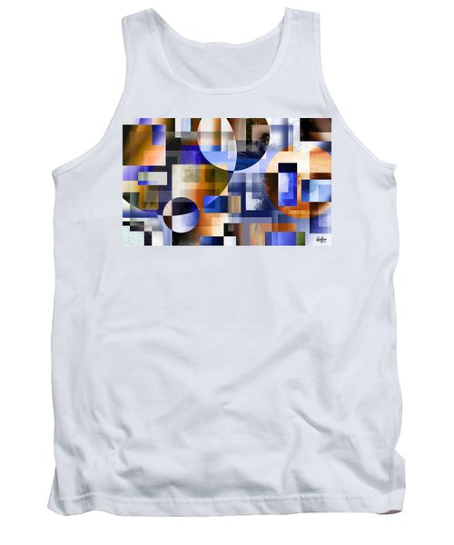 Tank Top featuring the painting Abstract In Blue by Curtiss Shaffer