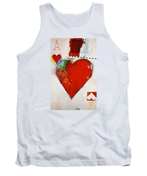Tank Top featuring the painting Ace Of Hearts 8-52 by Cliff Spohn