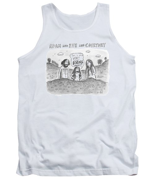 Adam And Eve And Courtney In The Garden Of Eden Tank Top
