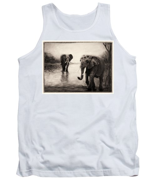Tank Top featuring the painting African Elephants At Sunset by Sher Nasser