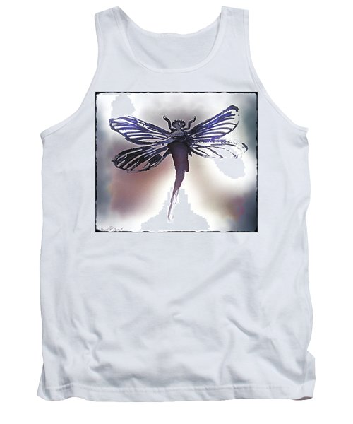 Alcohol Inks Purple Dragonfly Tank Top by Danielle  Parent