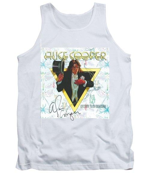 Alice Cooper Original Signature On Welcome To My Nightmare Album Artwork. Tank Top