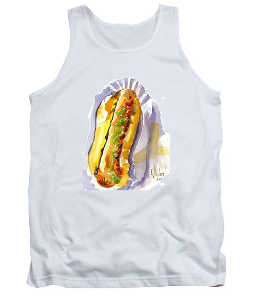 All Beef Ballpark Hot Dog With The Works To Go In Broad Daylight Tank Top by Kip DeVore