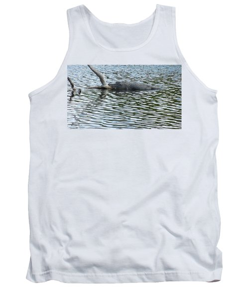 Tank Top featuring the photograph Alligator Resting On A Log by Ron Davidson