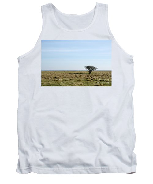 Alone Tree At A Coastal Grassland Tank Top