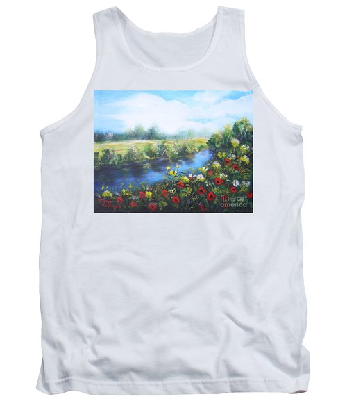 Tank Top featuring the painting Along The Poppy Valley by Vesna Martinjak
