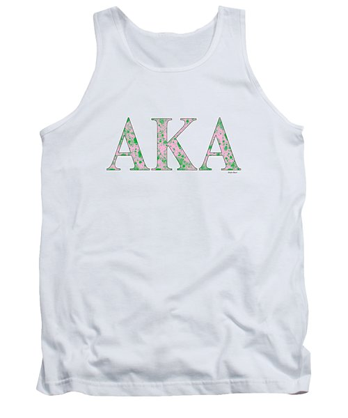Tank Top featuring the digital art Alpha Kappa Alpha - White by Stephen Younts