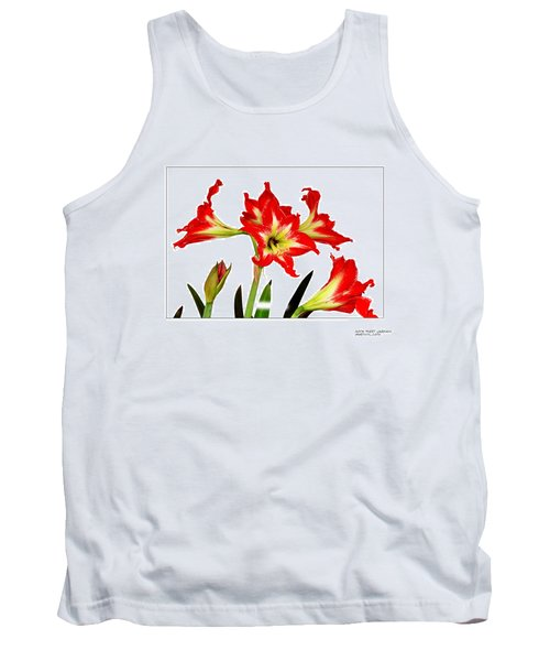 Amaryllis On White Tank Top by David Perry Lawrence
