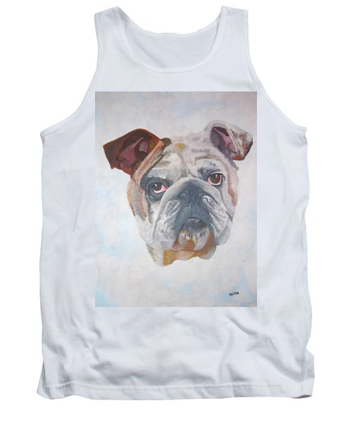 Tank Top featuring the painting American Bulldog Pet Portrait by Tracey Harrington-Simpson