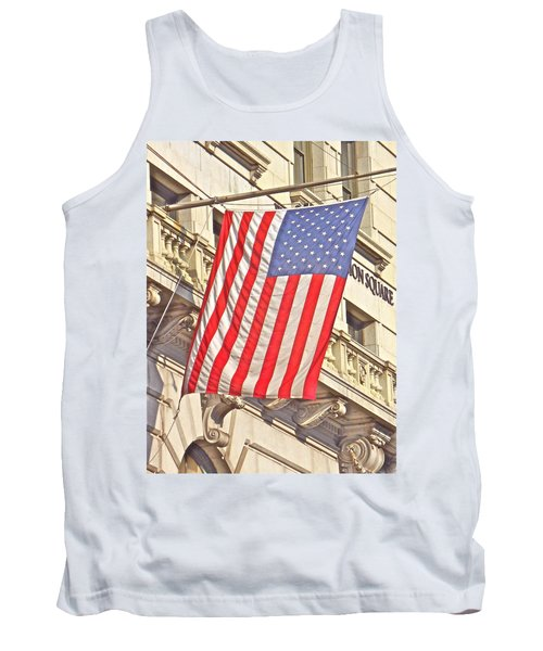Tank Top featuring the photograph American Flag N.y.c 1 by Joan Reese