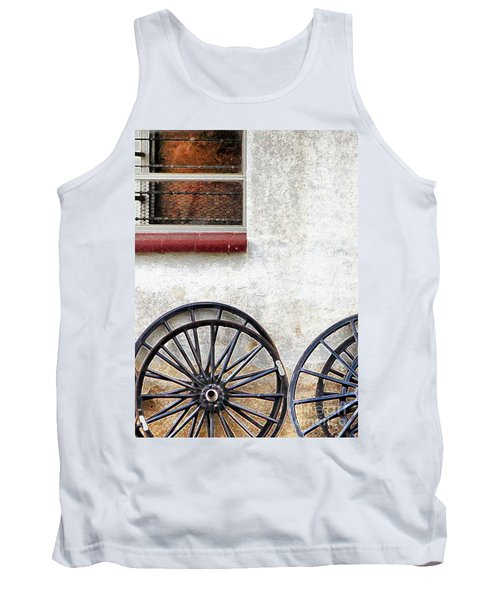 Tank Top featuring the photograph Amish Buggy Wheels by Polly Peacock