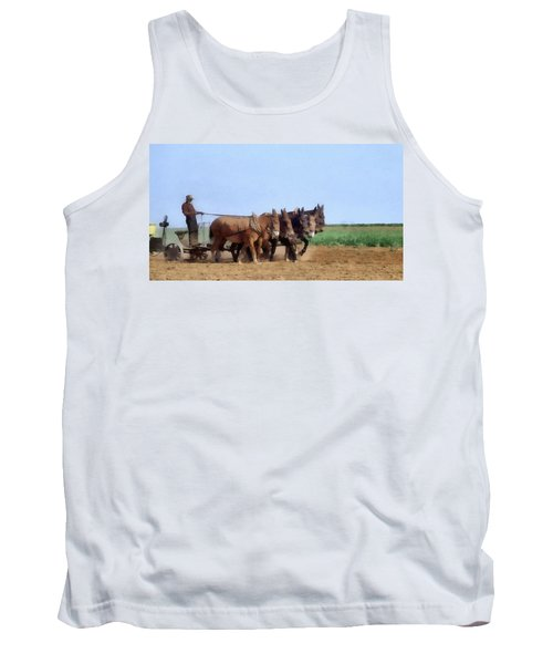 Amish Man Plowing The Fields Tank Top