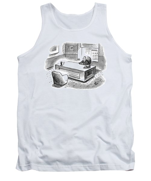 An Executive Sits At His Desk And An Employee's Tank Top