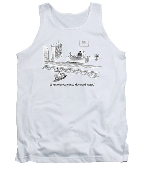 An Executive Sitting At His Desk Speaks To A Man Tank Top
