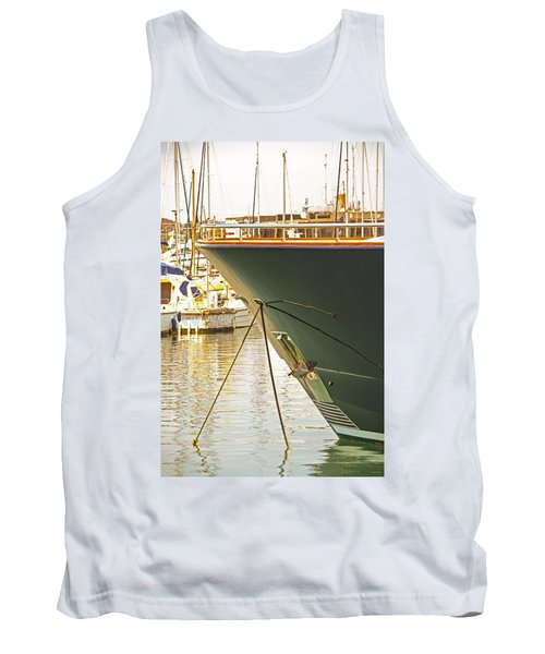 Anchored Yacht In Antibes Harbor Tank Top