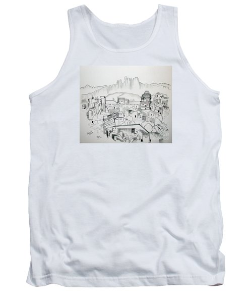 Tank Top featuring the drawing Ancient City In Pen And Ink by Janice Rae Pariza