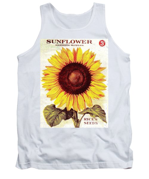 Tank Top featuring the painting Antique Sunflower Seeds Pack by Peter Gumaer Ogden