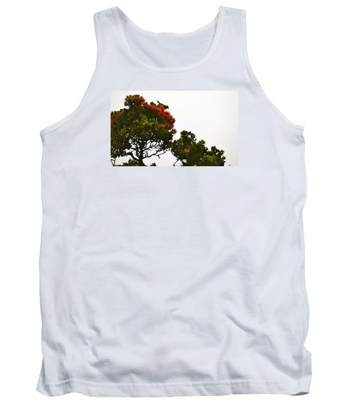Apapane Atop An Orange Ohia Lehua Tree  Tank Top by Lehua Pekelo-Stearns