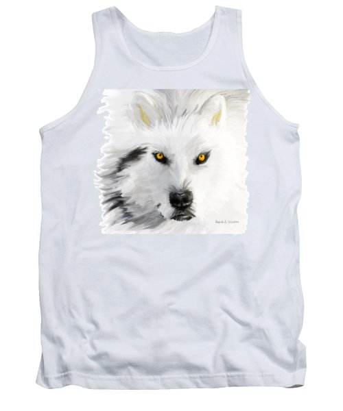 Arctic Wolf With Yellow Eyes Tank Top