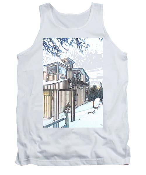 Tank Top featuring the painting Arp Clockhouse Across From Mamasitas In Bennet Nebraska by PainterArtist FIN