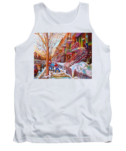 Art Of Montreal Staircases In Winter Street Hockey Game City Streetscenes By Carole Spandau Tank Top