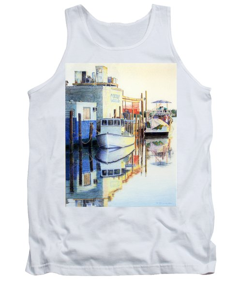 Tank Top featuring the painting At Cortez Docks by Roger Rockefeller