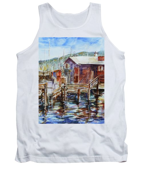 At Monterey Wharf Ca Tank Top by Xueling Zou