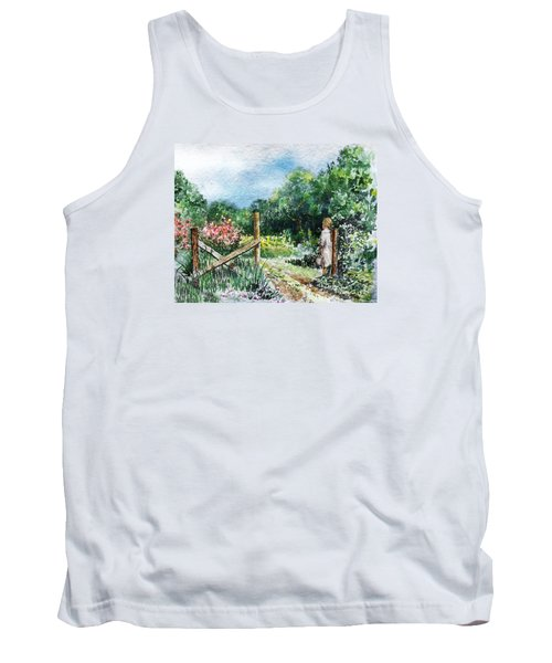 Tank Top featuring the painting At The Gate Summer Landscape by Irina Sztukowski