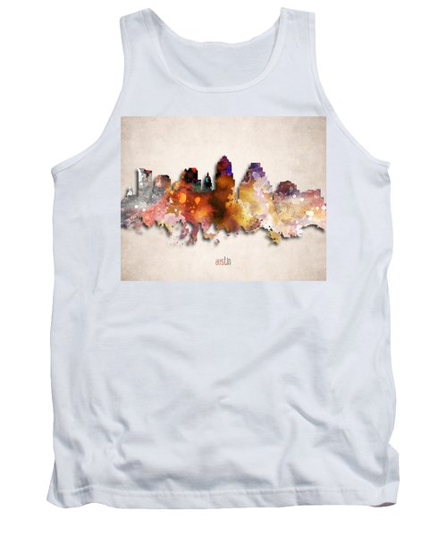 Austin Painted City Skyline Tank Top by World Art Prints And Designs