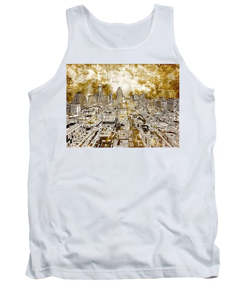 Austin Texas Abstract Panorama 6 Tank Top by Bekim Art