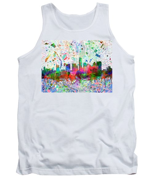 Austin Texas Abstract Panorama 7 Tank Top by Bekim Art