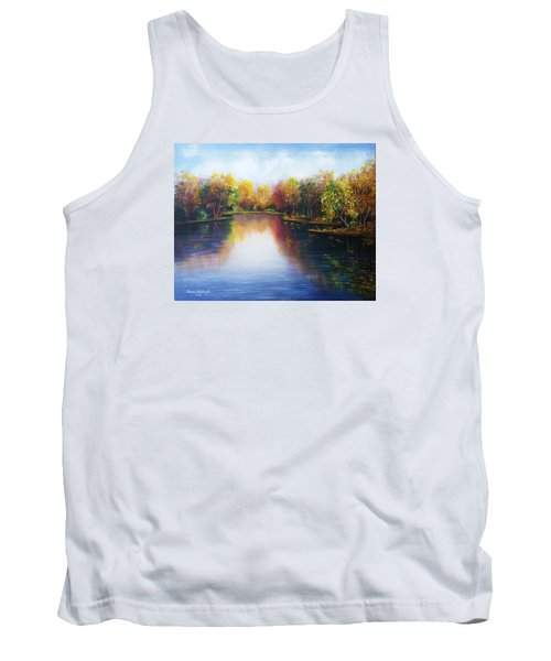Tank Top featuring the painting Autumn Reflections  by Vesna Martinjak