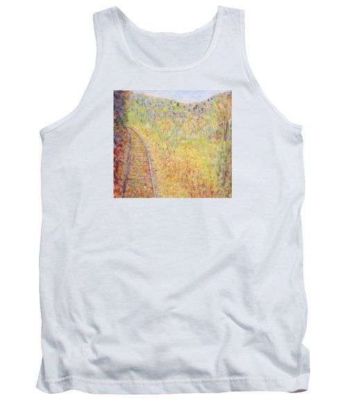 Autumns Maple Leaves And Train Tracks Tank Top