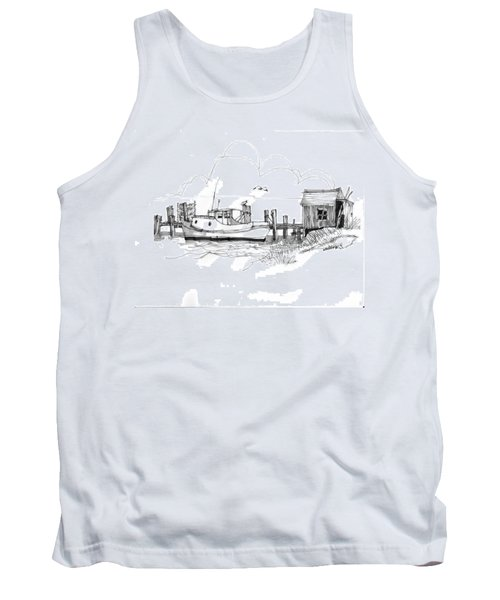 Awaiting Bluefish Run Ocracoke Nc 1970s Tank Top