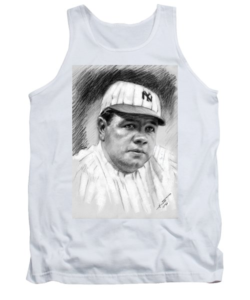 Tank Top featuring the drawing Babe Ruth by Viola El