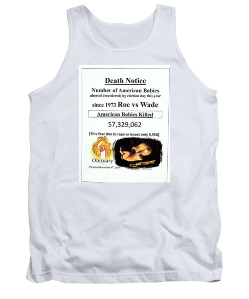 Babies Aborted Murdered Since Roe Vs Wade 1 Death Notice Obituary Tank Top