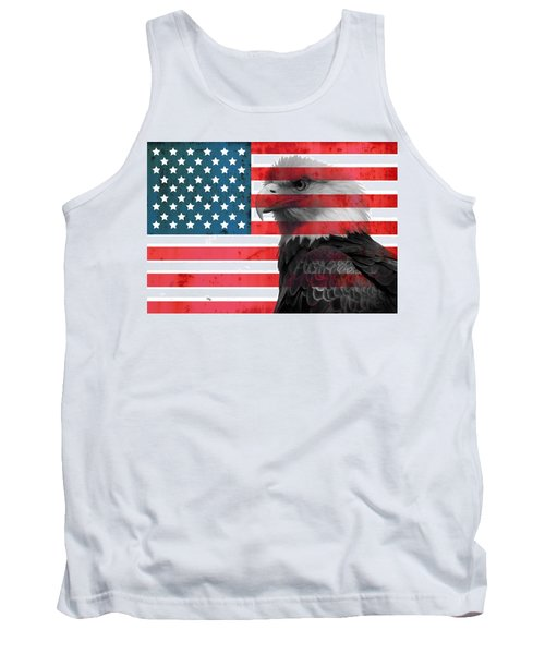 Tank Top featuring the mixed media Bald Eagle American Flag by Dan Sproul