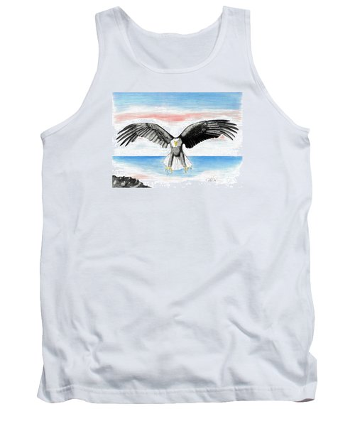 Tank Top featuring the drawing Bald Eagle by David Jackson